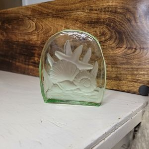 Under the Sea Paperweight Green Glass Etched Art